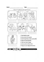 English Worksheets: Floppy Matching sentences and pictures