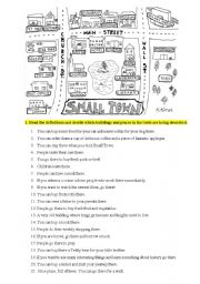 English Worksheet: Places in the city, directions, prepositions of place