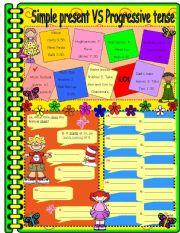 English Worksheets: simple present vs progressive tense