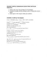 English Worksheet: Eternal Flame Worksheet