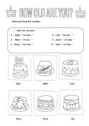 English Worksheet: How old are you?