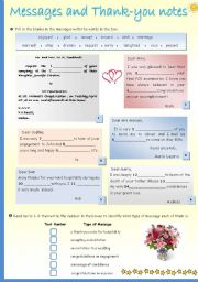 English Worksheets: Messages and Thank -you notes