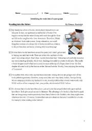 English Worksheets: Reading skills -identify main ideas of a paragraph[1].doc
