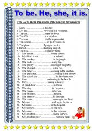 English Worksheet: to be. Write he, she, it, is instead of the names.