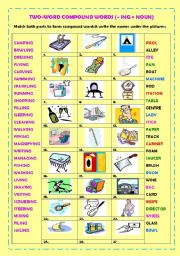 English Worksheets: Two-word compound nouns (v+ ing + noun) + key