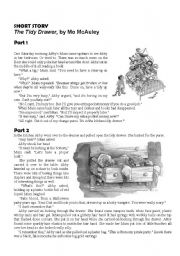 English Worksheets: Extensive reading - The Tidy Drawer, by Mo McAuley & Comprehension Worksheet