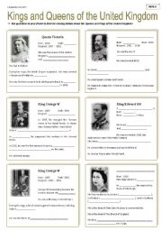 English Worksheet: Kings and Queens of the United Kingdom ( 1/6 )