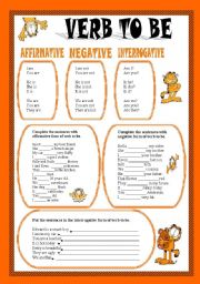 English Worksheet: VERB TO BE WITH GARFIELD - EDITABLE - KEY INCLUDED