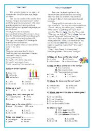 English Worksheets: Reading Text with Comprehension Questions *1*