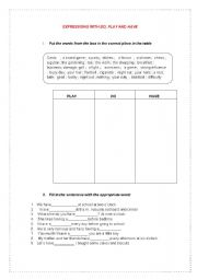 English Worksheets: Expressions with DO, PLAY and HAVE