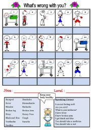 English Worksheet: What�s wrong with you (Illness)
