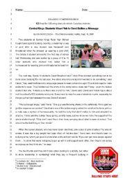 English Worksheet: Reading Comprehension (Bullying)