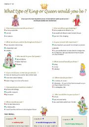 English Worksheets: What type of Queen or King would you be ? ( 6/6 )