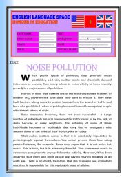English Worksheet: READING COMPREHENSION: NOISE POLLUTION
