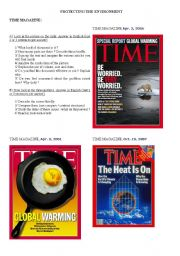 English Worksheet: Global warming : TIME covers and analysis