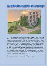 English Worksheet: place of living
