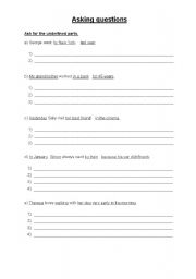 English Worksheets: Ask for the underlined parts