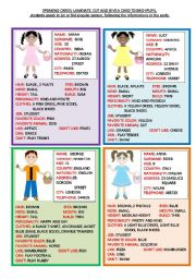 English Worksheet: SPEAKING CARDS  2 PAGES - 1ST PART