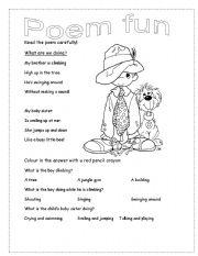 English Worksheet: Poem Fun
