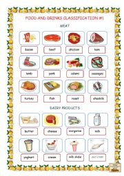 English Worksheet: Food and Drinks Classification #1 (Meat, Dairy Products)