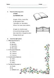 English Worksheet: reading a poem: A book