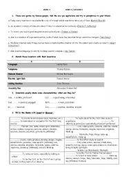 English Worksheets:  level 4 / Unit 2 / Lesson 1