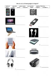 English Worksheet: new technology devices