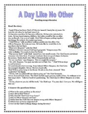 English Worksheets: A Day Like No Other -reading comprehension, vocabulary exercises