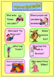 English Worksheet: Subject and Object Questions Speaking Cards *with key*