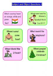 English Worksheet: Subject and Object Questions Speaking Cards 2