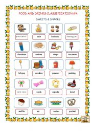 English Worksheet: Food and Drinks Classification #4 (Sweets & Snacks)