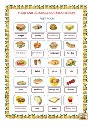 English Worksheet: Food and Drinks Classification #5 (Fast Food)
