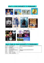 English Worksheets: TV PROGRAMMES - what time is your favourite programme ?