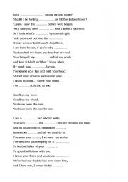 English Worksheet: goodbye my lover james blunt)and too much love will kill you(queen) exercise song