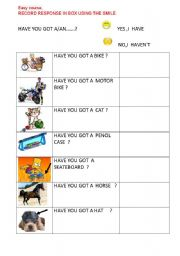 English Worksheets: HAVE YOU GOT..?