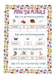 English Worksheets: Plurals with insects and animals
