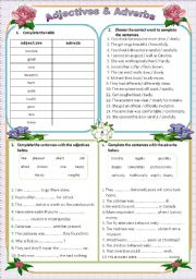 English Worksheet: Adjectives & Adverbs (editable with key)