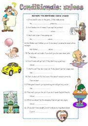 English Worksheet: CONDITIONAL SENTENCES: UNLESS