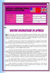 English Worksheet: WATER SHORTAGE IN AFRICA