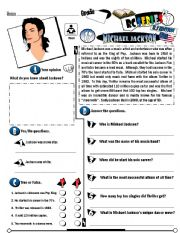 English Worksheets: RC Series_U.S Edition_17 Michael Jackson (Fully Editable + Key)