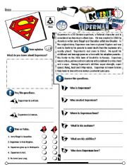 English Worksheet RC Series US Edition 15 Superman Fully Editable Key