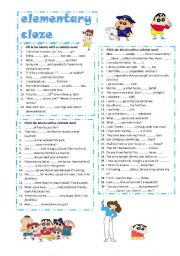 English Worksheet: elementary cloze