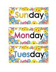 English Worksheet: Spring flowers days of the week