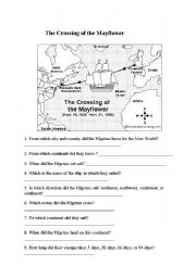 English worksheet: The crossing of the Mayflower