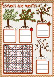 English Worksheet: Seasons and months - WORDSEARCH