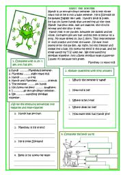 English Worksheet: READING: HANDY THE MONSTER