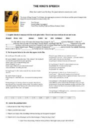 English Worksheets: THE KING�S SPEECH - film activities