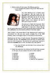 English Worksheets: Readin Amy Winehouse
