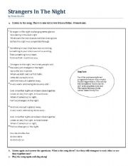 English Worksheet: Strangers in the Night - Frank Sinatra