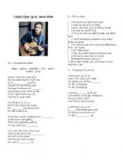 English Worksheet: I won´t give up - Jason Mraz